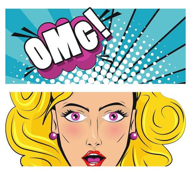 Linda mulher loira com poster de estilo de arte pop de palavra omg.