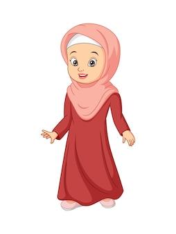 Linda mulher muçulmana em ilustração de hijab