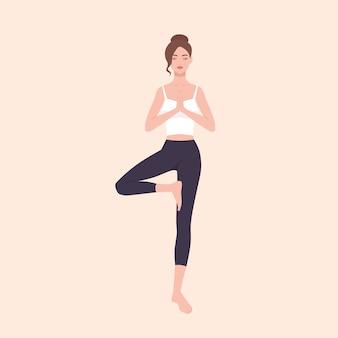 Linda mulher praticando hatha yoga e meditação zen. personagem de desenho animado muito feminino em pé na árvore pose e meditando. garota slim zé isolada na luz de fundo. ilustração plana.