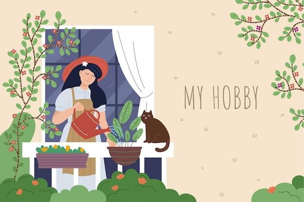 Linda mulher regando flores na varanda. jovem fazendo seu passatempo favorito