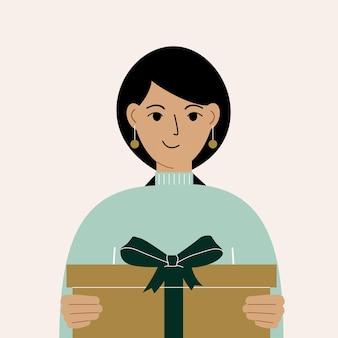 Linda mulher segurando uma caixa de presente com um laço. ilustração em vetor plana