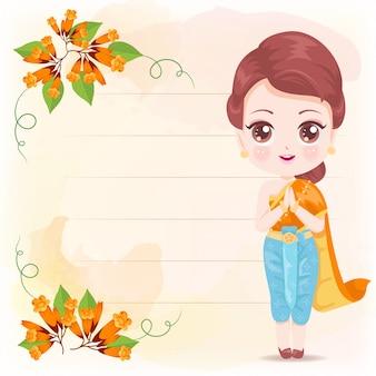 Linda mulher tailandesa com flores laranja
