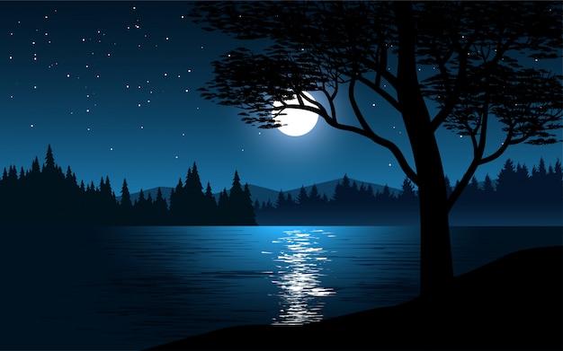 Linda noite azul com rio e floresta com lua e estrelas