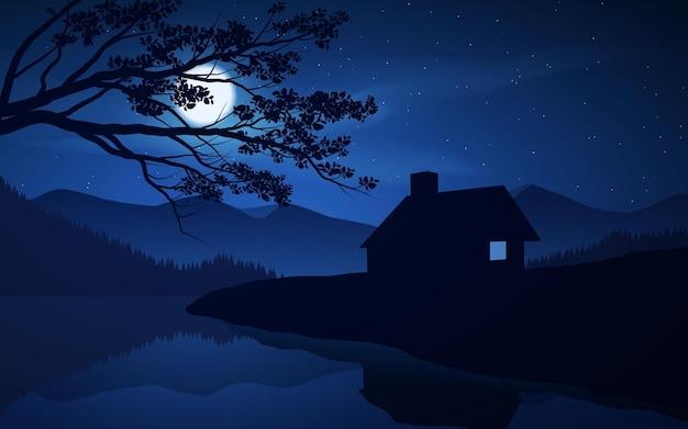 Linda noite no campo com rio e luar