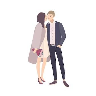Linda noiva beijando a bochecha do noivo durante a cerimônia de casamento. adorável par de homem e mulher feliz ou casal romântico isolado no fundo branco. ilustração vetorial colorida em estilo cartoon plana.