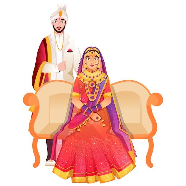 Linda nupcial indiana e seu noivo