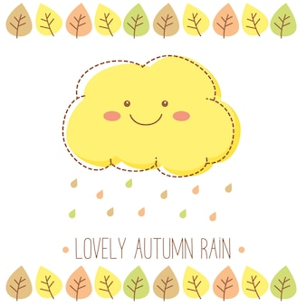 Linda nuvem de chuva de outono com pingos de chuva e folhas