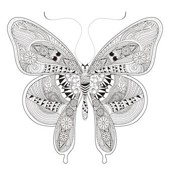 Linda página para colorir de borboleta em estilo requintado