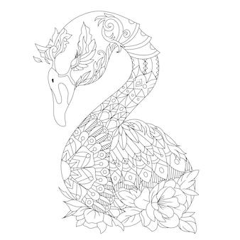 Linda página para colorir desenhada de ganso