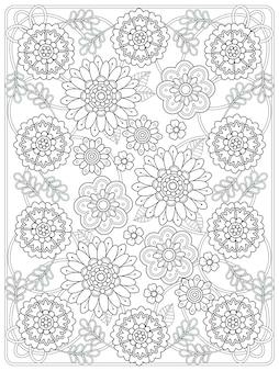 Linda página para colorir floral em linha requintada