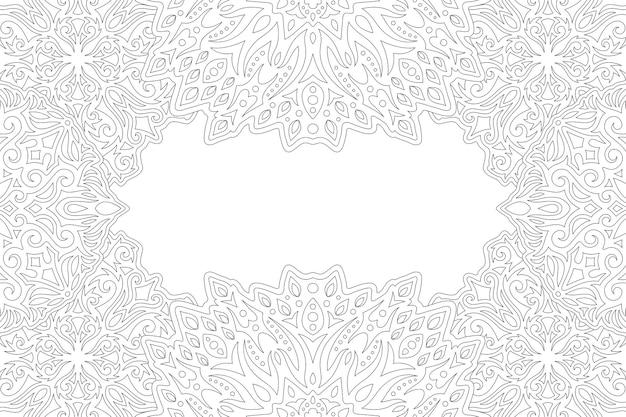 Linda página para colorir linear com borda oriental vintage e espaço de cópia em branco