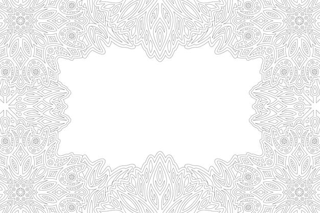 Linda página para colorir monocromática linear com borda oriental do retângulo e espaço de cópia em branco