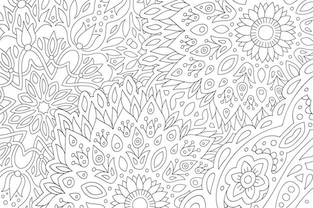 Linda página para colorir monocromática linear