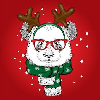 Linda panda com roupas de natal e ano novo