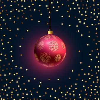 Linda pendurado bola 3d de Natal com glitter dourado