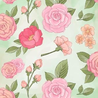 Linda peônia flores sem costura padrão