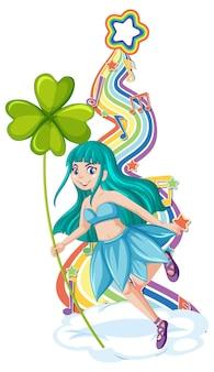 Linda personagem de desenho animado de fada com ondas de arco-íris