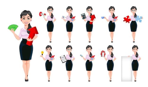 Linda personagem de desenho animado de mulher de negócios de sucesso