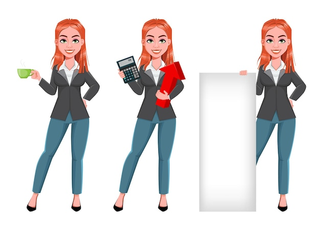 Linda personagem de desenho animado de mulher de negócios