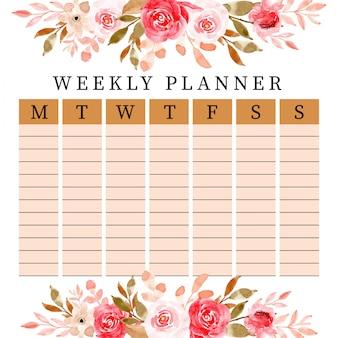 Linda planejadora semanal com aquarela floral