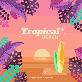 Linda praia tropical com design plano