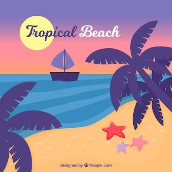 Linda praia tropical com design plano