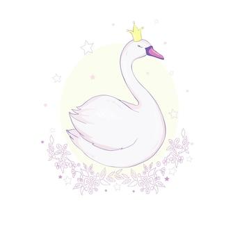 Linda princesa adorável cisne na ilustração vetorial rosa