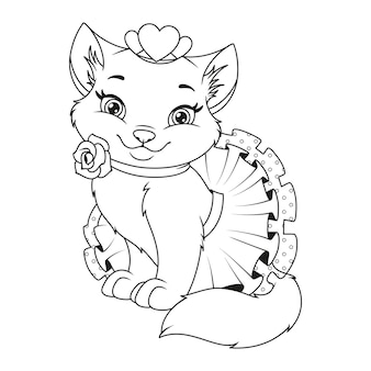Linda princesa gata para colorir ilustração