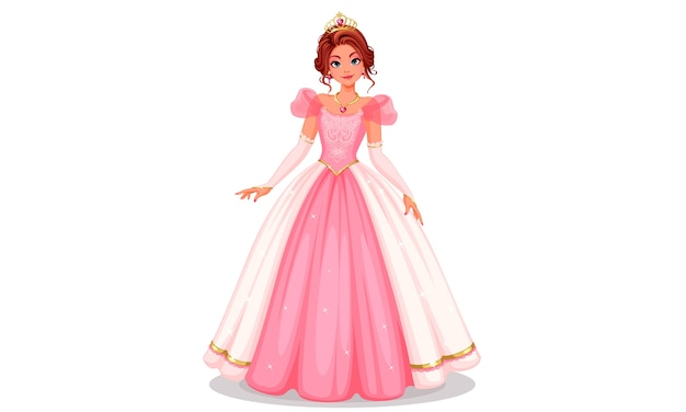 Linda princesa parada em um lindo vestido rosa longo.