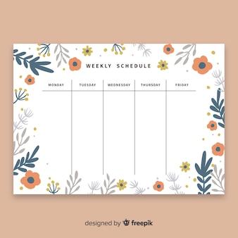 Linda programação semanal com estilo floral