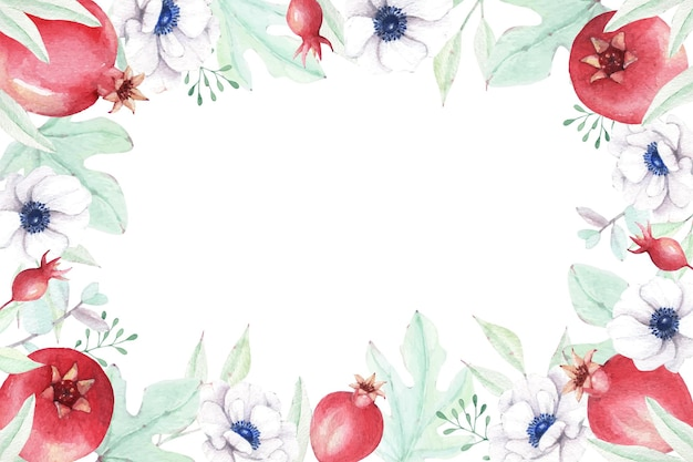 Linda romã com flor e folhas de anêmona em aquarela