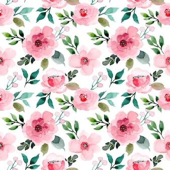 Linda rosa floral aquarela sem costura padrão