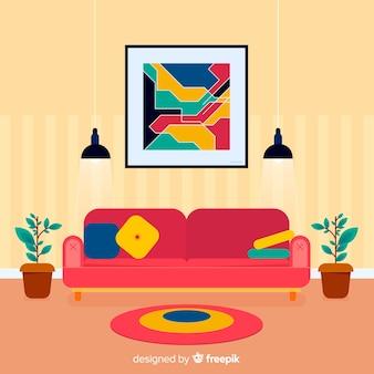 Linda sala de estar com design plano