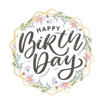 Linda saudação de feliz aniversário com flores