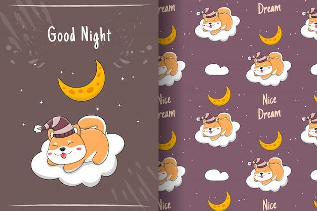 Linda shiba inu dormindo no cartão e no padrão sem emenda da nuvem