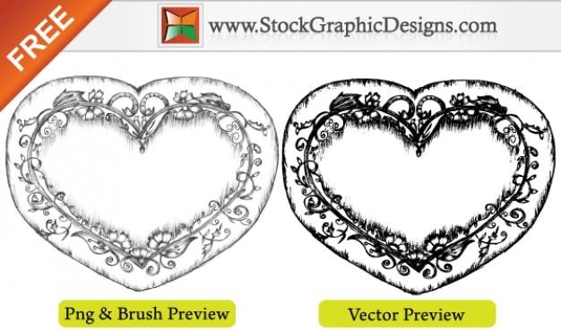 Linda sketchy hand drawn coração ilustração vetor grátis