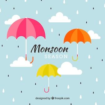 Linda temporada de monções composição com guarda-chuva