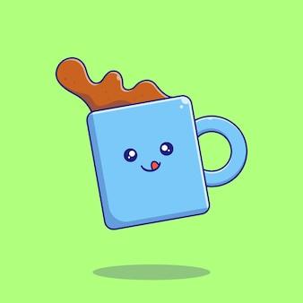 Linda xícara de café saboreando deliciosos personagens de desenhos animados plana.
