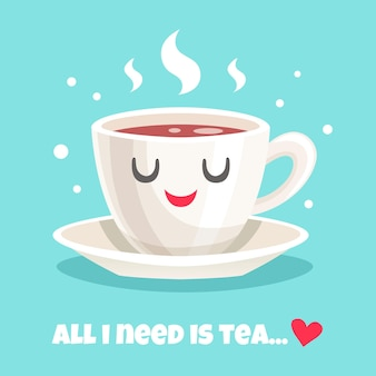 Linda xícara de chá preto