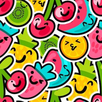Lindas bagas e frutos misturam padrão