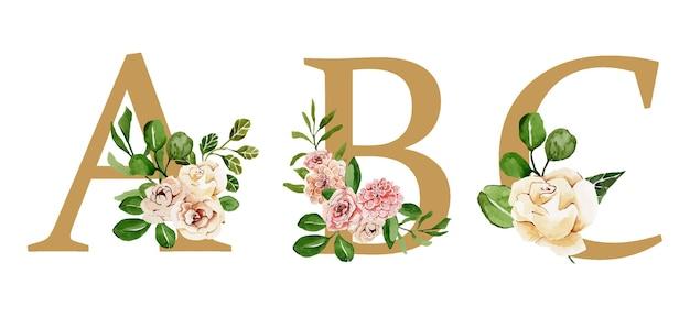 Lindas cartas natalinas douradas decoradas com flores em aquarela