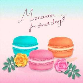 Lindas cores de macaron de dias doces