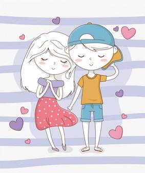 Lindas crianças casal com padrão de corações