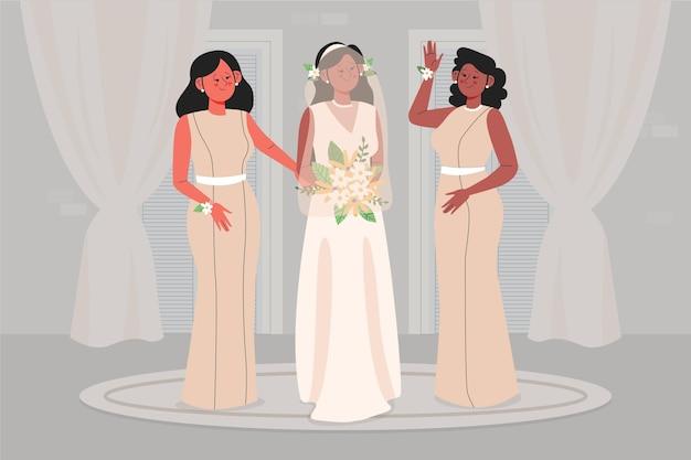 Lindas damas de honra com noiva comemorando