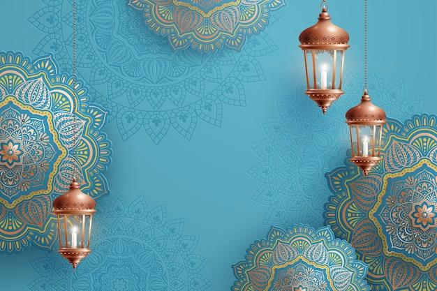 Lindas decorações em arabescos azuis com lanternas penduradas