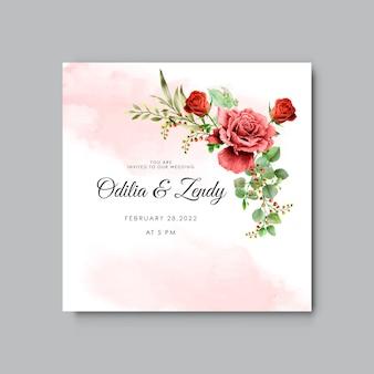 Lindas e elegantes flores e folhas em aquarela cartões de convite de casamento