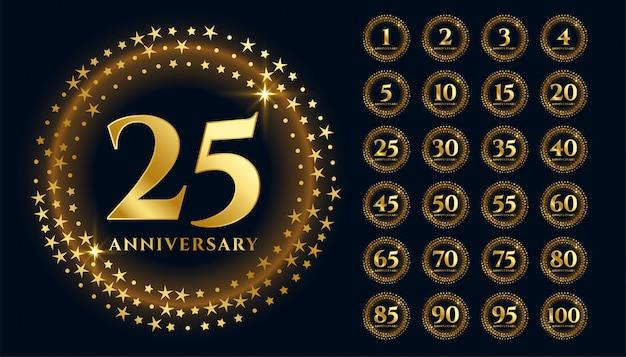 Lindas etiquetas de aniversário de ouro em estilo premium