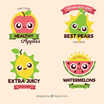 Lindas etiquetas de frutas com design plano