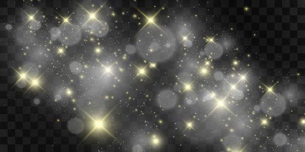 Lindas faíscas brilham com luz especial. brilha em um fundo transparente. padrão abstrato de natal. uma bela ilustração para o cartão postal. o plano de fundo da imagem. luminárias.