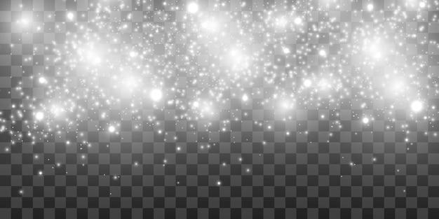 Lindas faíscas brilham com luz especial. brilha em um fundo transparente.